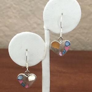 Sterling Silver Heart Dyed MOP Earrings